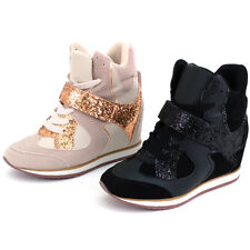 Women Hidden Wedge Heel Sneakers High Top Lace Velcro Platform Ankle Boots Gold