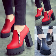 Womens Faux Leather Zip Chunky High Heels Pumps Cleated Sole Platform Punk Shoes