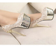 SEXY GLITTER STUDDED SPIKE DIAMANTE BEAUTIFUL LACE  PARTY COURT HIGH HEELS