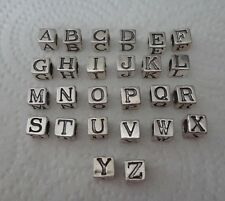 7 mm Square Sterling Silver 5mm Hole Alphabet Initial Block Spacer Bead Charm