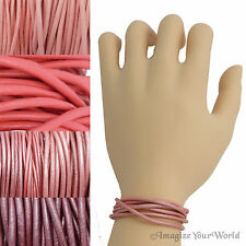 Pink Custom Leather Cord Wrap Bracelet 72 inches (or less) Necklace Anklet +