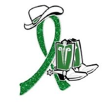 Green Awareness Ribbon Pin Sparkling Cancer Cowgirl Cowboy Western Boots Hat