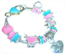 PERSONALISE CHILDRENS/GIRLS/KIDS PINK & BLUE CHARM BRACELET GIFT BOXED