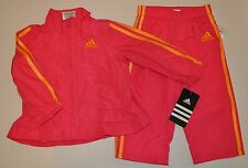 NWT Baby Girl ADIDAS 2 Pc Hot Pink Wind Track Suit Jacket Pants Set 9M 9 Mt NEW