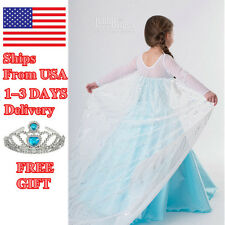 2015 Frozen Elsa Dress Up Gown Costume Ice Princess Queen Crown 3-4 5-6 7-8T E1a