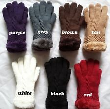 Chic Women's Winter Warm knitted Gloves Mittens One Size 7 Colors Fur Lining S