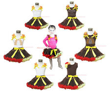 THANKSGIVING Turkey Gobble Autume Theme Girl Clothing Shirt with Pettiskirt 1-8Y