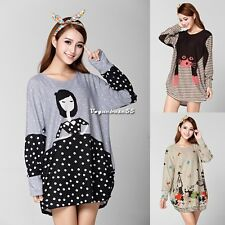 Women's Korean Fashion Cute Loose Casual Long Sleeve Knitting Sweater Dress