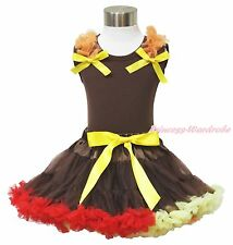 Thanksgiving Ruffles & Bows Pettitop Baby Girl Brown Red Pettiskirt Outfit 1-8Y