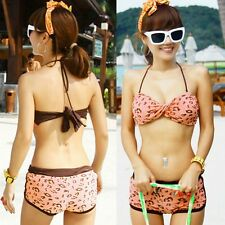 Bikini Bandeau Halter Removable Pads Women's Swimwear Swimsuit Boy Shorts Bottom