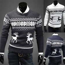 2014 Men's Vintage Jumper Sweater Christmas Xmas Rudolph Winter Fairisle UK