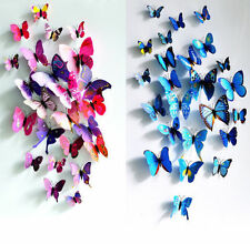 12Pcs Sticker Art Design Decal Wall Stickers Home Decor Decorations 3D Butterfly