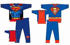 BOYS KIDS NOVELTY SUPERMAN CAPE PYJAMAS PJS FANCY DRESS Age 2/3 3/4 5/6 7/8