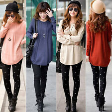 Women Round Neck Long Sleeve Knitted Pullover Jumper Loose Sweater Knitwear Top
