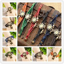 Retro Weave Around Leather Bracelet Watch Charming Lady Woman Quartz Wrist Watch