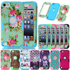 Dual Layers Printed Pattern Hybrid Armor Matte Combo Cover Case For iPod Touch 5