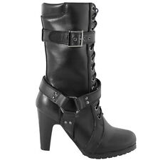 Xelement LU8003 Women's Fashion Buckle and Harness Motorcycle Black Boots