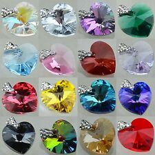 925 Silver SWAROVSKI ELEMENTS 6228 Heart Pendant Many Colors