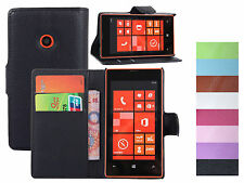 Litchi Luxury PU Leather Wallet Stand Case Flip Cover For Nokia Lumia 520