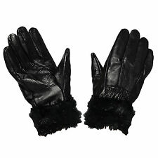 G58 LADIES WINTER FLEECE THERMAL WARMTH LINED LEATHER GLOVE FAKE FUR TRIM GLOVES