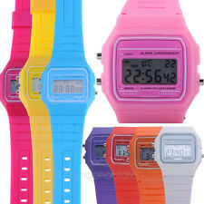 New Retro 80s Silicone Rubber Alarm Date Day Stopwatch Sports Casual Wrist Watch