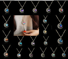 Unique Mystery Colorful Galaxy Glass Hollow Moon Pendant Silver Necklace Pendant