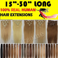 "15""-30"" Real Clip In Remy Human Hair Extensions Haarverlängerungen 70G-120G Lot"