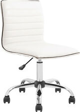 Black White Leather Ribbed Back Armless Computer Swivel Home Office Desk Chairs