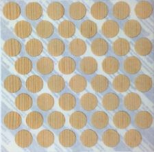 NEW Self Adhesive Solid Pine Wood Veneer Screw Cover 14mm dia, 0.9mm thick