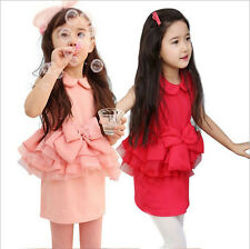 Kids Girls Baby Sweety Cute Gown Ruffled Lace Skirts Bow Lapel Party Dress 2-7Y