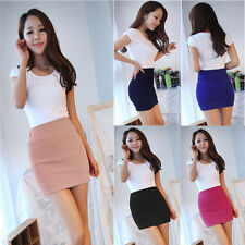 Womens Sexy Mini Skirt Slim Seamless Stretch Tight Short Fitted Candy Colors New