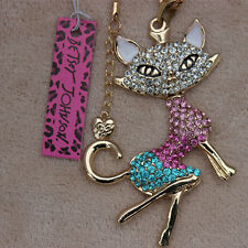 Betsey Johnson Fashion Crystal Fox Pendant Long Necklace