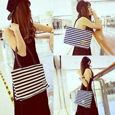 Fashion Women Girl Handbag Stripes Woven Shoulderbag Casual Tote Black/Dark Blue