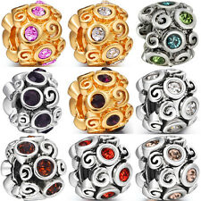 NEW Roll Crystal spacer charms Bead Fit Sterling Silver charm Bracelets Bangles