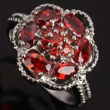 Fashion Jewelry Garnet Gemstones AWESOME Silver Rings US#Size5 6 7 8 9 T0771