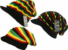 ITZU Apparel Co.  RASTA Reggae Knitted Slouch Oversized + Peak Beanie Cap Hat