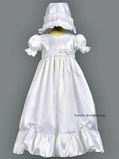 Girl's White Christening Baptism Dress Gown w/ Lace Taffeta 0-18M / Farrah