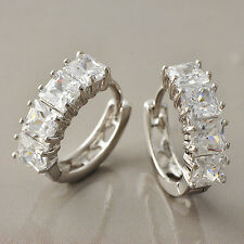 Bright CZ Womens White Gold Filled/925 Silver Hoop Earrings  A3561
