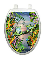 Frogs in the Moonlight Toilet Tattoo  Removable Reusable Bathroom Decoration