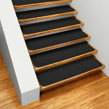 Set of 15 SKID-RESISTANT Carpet Stair Treads BLACK runner rugs