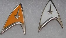 Star trek gold or white coloured pin badge. Now available as a boxed pair