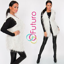 Ladies Faux Fur Waistcoat Vest Jacket Gillet Shrug Body Warmer Sizes 8-12 FW25