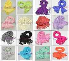 Solid pure Color Silk-Cotton Crinkle Scarf Shawl Tassel Wraps Scarves New