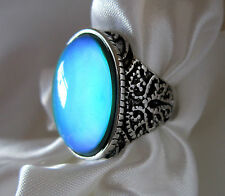 Large OVAL Mood Ring Antique Silver Coloured Flatter Bead Sizes 7½, 8 8½ 9½, 10½
