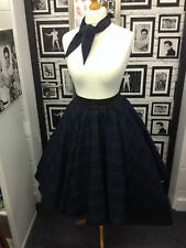 Blackwatch Tartan Full Circle Skirt 50s Rock & Roll Grease Rockabilly Jive Blue