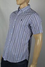 Ralph Lauren Blue Striped Custom Short Sleeved Dress Shirt Navy Blue Pony NWT