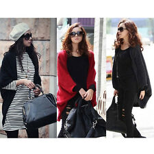 Ladies Batwing Tops Poncho Knit Cape Cardigan Long Sleeve Coat Knitwear Sweater