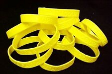 """Yellow Awareness Bracelets 12 Piece Lot Silicone Wristband Cancer Cause 8"""" New"""