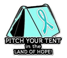 Teal Ribbon Lapel Pin Cancer Awareness Pitch Your Tent in the Land of Hope New