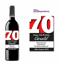 PERSONALISED 70th BIRTHDAY WINE, CHAMPAGNE or BEER/CIDER BOTTLE LABEL
